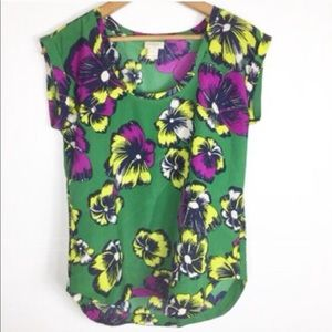 J. Crew Green Floral Tropical Top Blouse Size 0P